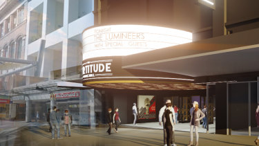An artist's impression of the Fortitude Music Hall in the Brunswick Street Mall.