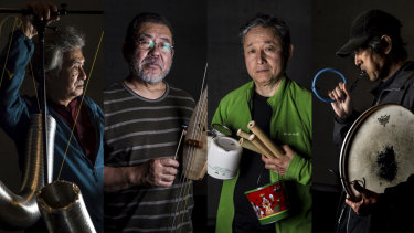 Avant-garde DIY: Kazuo Imai (from left), Kei Shii, Masami Tada and Tomonao Koshikawa form Marginal Consort, who turn household goods into one-off instruments.