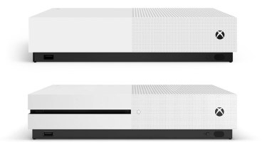 The Xbox One S All-Digital Edition, above the original Xbox One S.