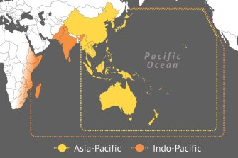 The Indo-Pacific covers a broader area than the Asia-Pacific, including India.