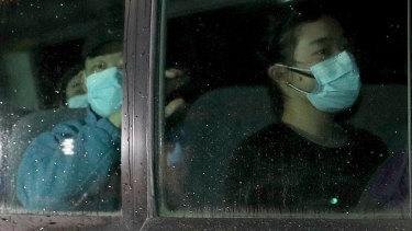 Australian evacuees from Wuhan arrive on Christmas Island on February 6.