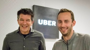 Anthony Levandowski (right) with Uber founder and then-CEO Travis Kalanick in 2016.