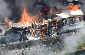 The burning truck on the Eastern Freeway at Doncaster.