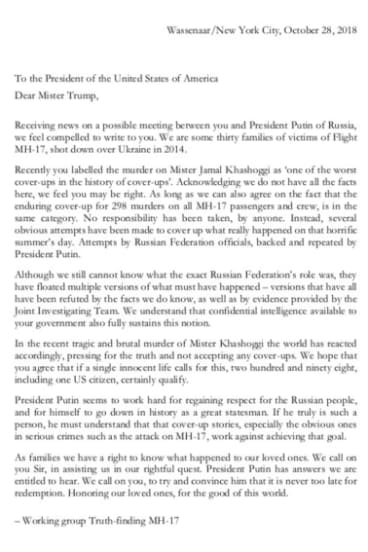 A letter to Donald Trump from a group of families who lost loved ones in the MH17 tragedy.
