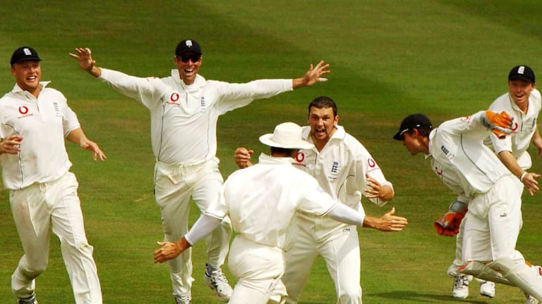 As good as it gets: Steve Harmison, centre, celebrates with teammates after England's dramatic win at Edgbaston in 2005.