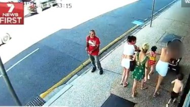 CCTV footage of a bystander watchinga group of women in Fortitude Valley last week who are allegedly scamming Brisbane restaurant and bars.