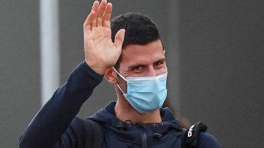 Novak Djokovic arrives in Adelaide to quarantine before the Australian Open.