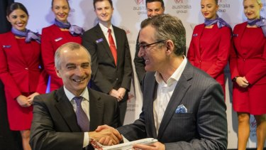 Outgoing CEO John Borghetti with  Paul Scurrah, New Virgin Australia CEO