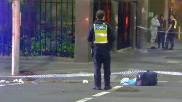 Police at the scene in Melbourne's CBD.