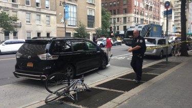 The crash scene where an Australian cyclist was killed in New York City.