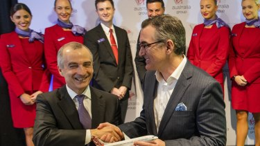 Outgoing CEO John Borghetti with  Paul Scurrah, New Virgin Australia CEO.