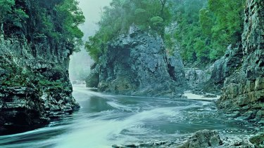 Saved by protestors in the 1980s: Rock Island Bend, Franklin River, now in the Franklin-Gordon Wild Rivers National Park. Tasmania c. 1980