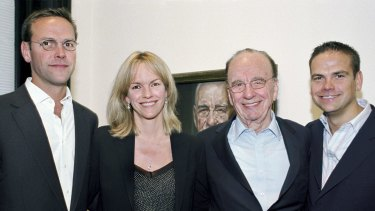 Rupert Murdoch with his three children from his second marriage: James, Elisabeth and Lachlan.