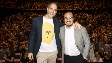 Yotam Ottolenghi in conversation with Adam Liaw at the Sydney Opera House.