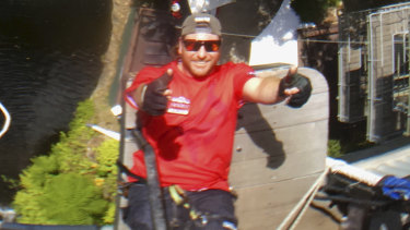 Jeremy Burke is a bungee jump master at Australia's only bungee tower in Cairns.