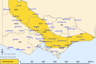 The Bureau of Meteorology issued a warning for the state.