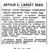 Arthur Liardet's death notice in the New York Times.