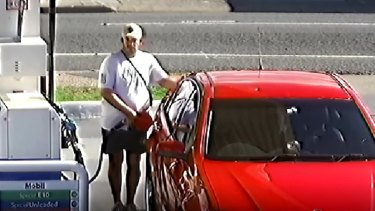 Jason Guise filling up his car at a Wynnum service station on the afternoon of April 21 - the day he was last seen.