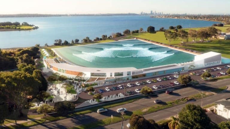 An artist's impression of the URBNSURF wave park on the Swan River in Alfred Cove.