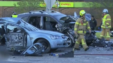 The scene of the crash at Cranbourne on Sunday afternoon.