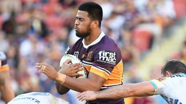Payne Haas of the Broncos during the Round 13 NRL match with the Titans at Suncorp Stadium.