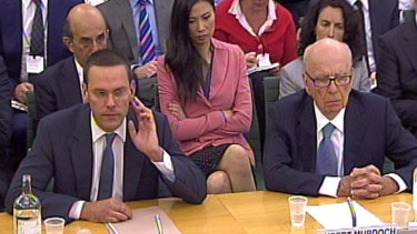 James and Rupert Murdoch giving evidence on the News of the World phone-hacking scandal in 2011.