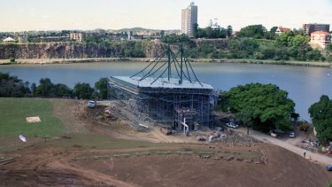 The Riverstage under construction in the late 1980s.