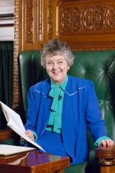 Joan Child pictured in the Speaker's chair, 1986