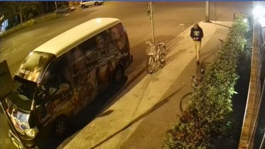 CCTV footage of Theo Hayez walking away from Cheeky Monkey's in Byron on Friday night, an hour before his last known contact.
