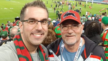 Jim Couri with his son Anthony at a Rabbitohs game.
