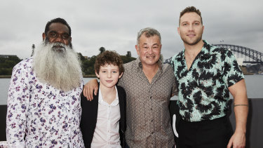 Storm Boy cast Trevor Jamieson, Finn Little, and Jai Courtney with director Shawn Seet.