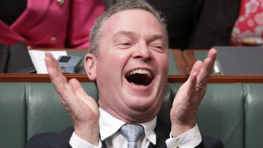 Minister for Defence Industry and Leader of the House Christopher Pyne during Question Time in Canberra, December 2017.