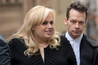 Actress Rebel Wilson arriving at the Supreme Court with Matt Collins QC during her high-profile defamation action.