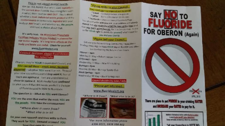 One of the many pamphlets dropped in letterboxes in Oberon before council debates whether to reverse its anti-fluoride position.
