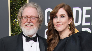"""""""Our assistant ran in and yelled that I was nominated"""": Tony McNamara with Belinda Bromilow at the Golden Globes earlier this month."""