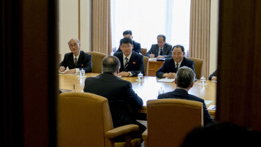 US Secretary of State Mike Pompeo, bottom left, and Kim Yong-chol, top right, North Korean senior ruling party official and former intelligence chief, meet at the Park Hwa Guest House in Pyongyang.
