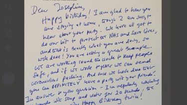 UK Prime Minister Boris Johnson wrote to seven-year-old Josephine, praising her for delaying her birthday party in line with government pleas for social distancing to try and stop the spread of coronavirus.