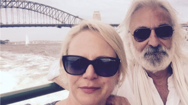 Andrew Jack with wife Gabrielle Rogers on Sydney Harbour, 2015.