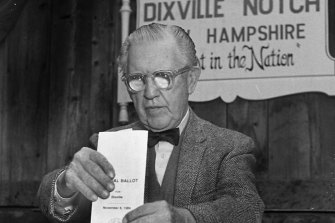 In this February 28, 1984, photo, Neil Tillotson gets ready to cast the first ballot in the New Hampshire presidential primary in Dixville.