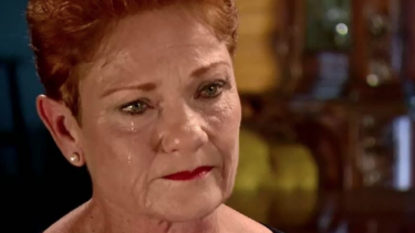 A tearful Pauline Hanson on A Current Affair.