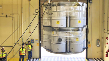 Australia is considering whether to build a facility to house radioactive waste, like these barrels at a facility in the United States.