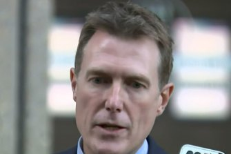 Christian Porter speaking to the media outside the Federal Court in Sydney on Monday.