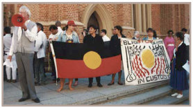 Noel Olive leading a demonstration about Indigenous deaths in custody.