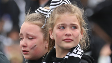 Young Pies react to the loss at the Holden Centre.