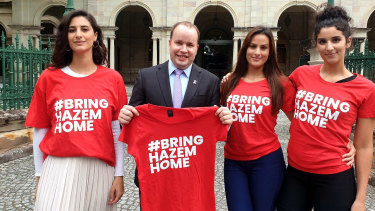 Lamisse, Amira, and Jasmine Hamouda join Stretton MP Duncan Pegg who has raised Hazem Hamouda's plight in a speech in Queensland Parliament.