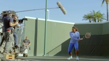 Lesson one ... Serena Williams is filmed for her tennis Masterclass.
