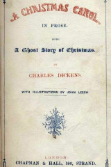 "A copy of the 1843 book ""A Christmas Carol' by Charles Dickens, who wrote in the preface: ""I have endeavoured in this Ghostly little book, to raise the Ghost of an Idea, which shall not put my readers out of humour with themselves, with each other, with the season, or with me. May it haunt their houses pleasantly, and no one wish to lay it""."