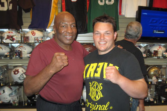 Jayde Mitchell with former world heavyweight championship contender Earnie Shavers in 2012 in Las Vegas.