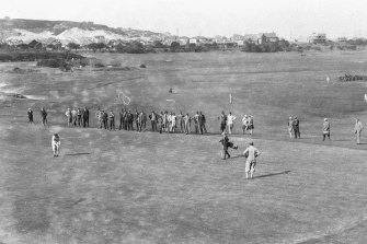A photo taken by the famous photographer Sam Hood of the Royal Sydney Golf Club in the days when the dunes surrounding the course were still visible. There is a chance, say archaeologists, that the dunes may contain Aboriginal remains and artefacts.