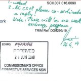 A handwritten note by Peter Severin, the Commissioner of Corrective Services NSW, ruling out a needle exchange was provided as evidence to the NSW inquiry into the drug ice.
